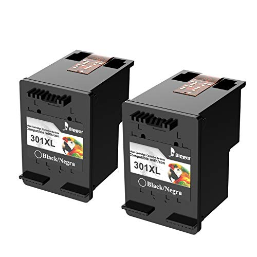Cartuchos de Tinta 301XL remanufacturados más Bigger para Cartuchos de Tinta HP 301XL Compatible con HP DeskJet 1050 1510 2540 3000 3050, HP Envy 4500 5530, HP OfficeJet 2620 4630 (2 Black Pack)
