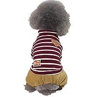 エイシア-ペットマスター ペット猫犬ストライプホディー服小型犬用シャツセーターコート子犬暖かいジャケットプルオーバー衣装 (Color : RED, Size : XL)