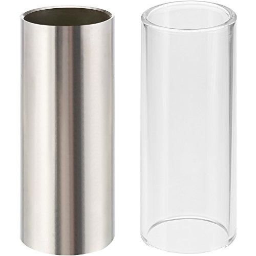 2 Pieces Glass Slide and Stainless Steel Slide in Box for Guitar, Bass,...
