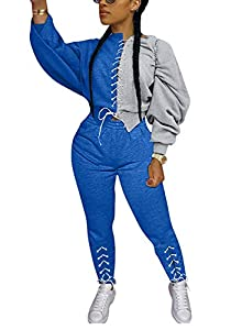 Sexy Two Piece Outfits for Women Casual - Long Puff Sleeve Pullover Color Block Lace Up Sweatshirt Crop Tops and Bodycon Long Pants Set Sports Tracksuit Sweatsuits Club Jumpsuit Blue, X-Large from