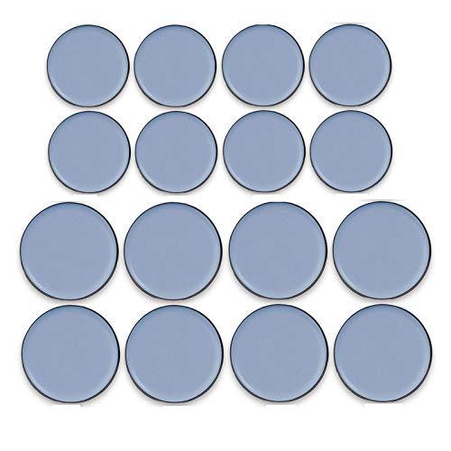 16 piezas Teflón Sliders Protectores para Muebles Furniture Deslizadores Almohadillas para Mover Patín Deslizador de Teflón para Silla, Mesa, Sofá, 8x25mm 8x30mm