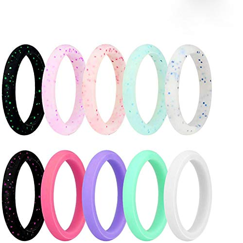 JINGRAYS 10-Pack Silicone Wedding Ring for Women, Silicone Rings Wedding Bands Thin and Stackable Durable Comfortable Rubber Rings Band,Singles 2.7mm Width,Size 5-9 (6)