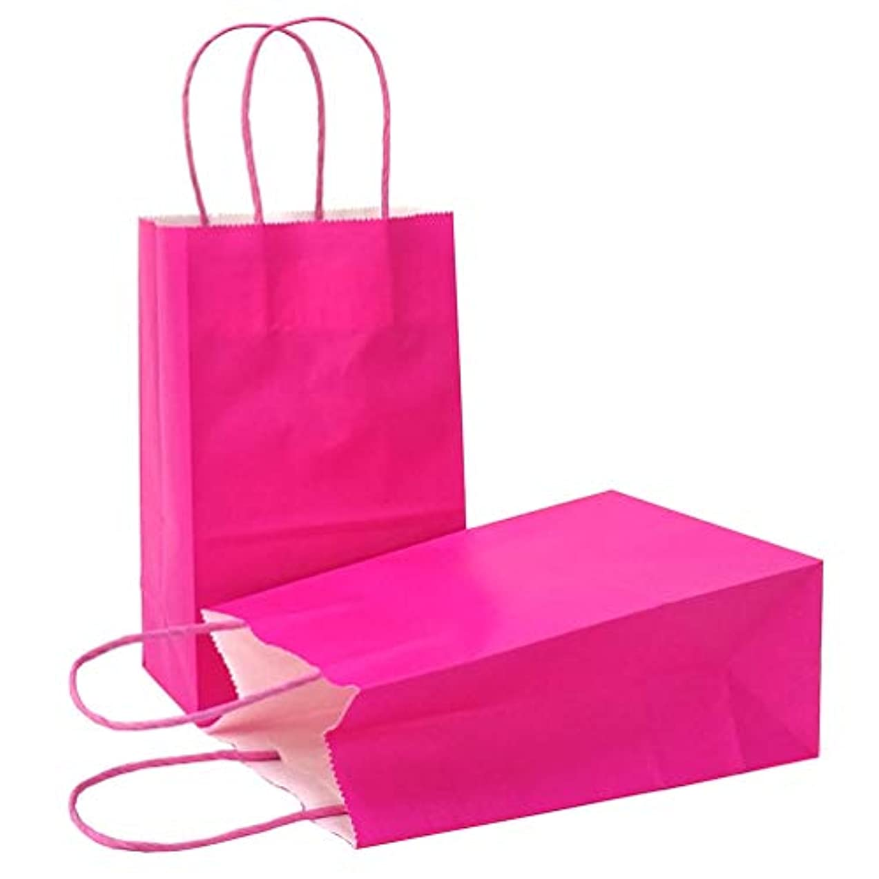 AZOWA Gift Bags Large Kraft Paper Bags with Handles (9.8 x 7.5 x 3.9 in, Magenta, 25 Pcs)