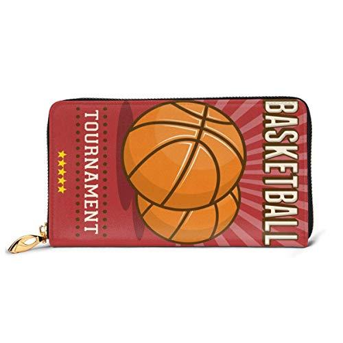 IUBBKI Retro Deporte Baloncesto Rojo Cuero Genuino Chica Carteras con Cremallera Embrague Tarjeta Monedero teléfono Monedero para Mujer