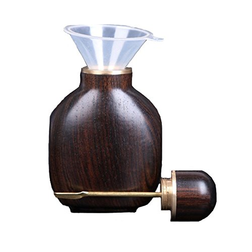 LeMing Snuff Bottle with Spoon Large-Capacity Ebony Blackwood Portable Fragrance Vial with Funnel Handicrafts