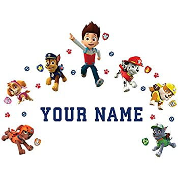 Oliver's Labels Paw Patrol Personalized Kids Name Wall Decal