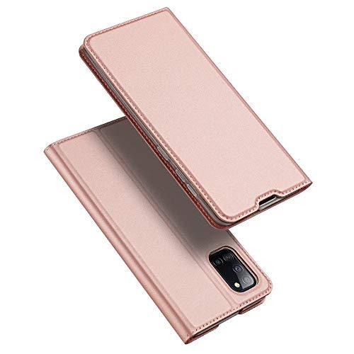 DUX DUCIS Hülle für Samsung Galaxy A31, Leder Klappbar Handyhülle Schutzhülle Tasche Hülle mit [Kartenfach] [Standfunktion] [Magnetisch] für Samsung Galaxy A31 (Rose Golden)