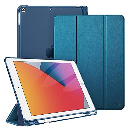 FINTIE Case for New iPad 10.2' 8th Generation 2020 / 7th Generation 2019 with Pencil Holder - Lightweight Slim Shell Stand with Translucent Frosted Back Cover, Supports Auto Wake/Sleep, Midnight Blue