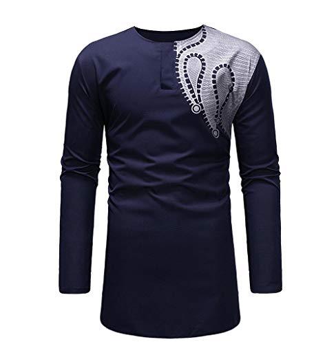 Tomatoa-Herren Langarm-Shirt Männer Sweat-Shirt O-Neck Kleidung Männer Regular Fit Longsleeve T-Shirt Sweatshirt Dashiki Kleidung afrikanisch Nation Kleid M-XXXL