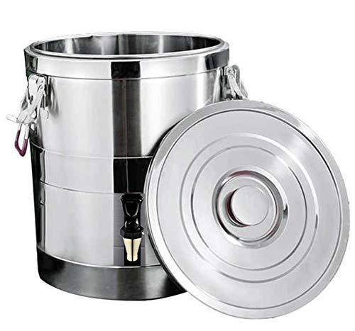 Thermobehälter Edelstahl,Profi Gastro Thermotransportbehälter mit Ablaufhahn,Einkoch- und Heißgetränkeautomat, für gewerbliche Zwecke, Bürozwecke, Kaffee, Wassermilch, Tee, süße Weinsuppe,20L