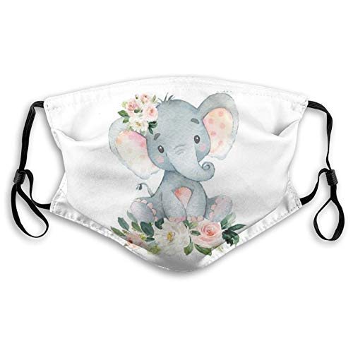 Blush Pink Floral Elephant Fashion Face Mask With Filter Pocket Washable Face Bandanas Dust-Proof Balaclava Reusable Fabric Mask For Men Women