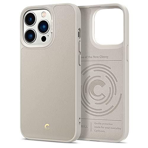 CYRILL Leather Brick Funda Compatible con iPhone 13 Pro (2021), Cuero Elegante con Carcasa Híbrido de Policarbonato - Crema Beige