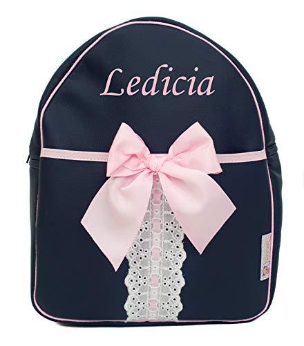Mochila Infantil Personalizada con el Nombre Bordado (Cinderella Marino)