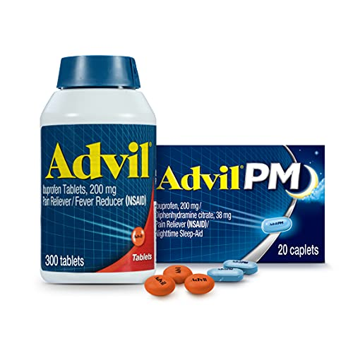 Advil Pain Reliever and Fever Reducer, Ibuprofen 200mg for Pain Relief - 300 Count, Advil PM Pain Reliever and Nighttime Sleep Aid, Ibuprofen for Pain Relief and Diphenhydramine Citrate - 20 Count