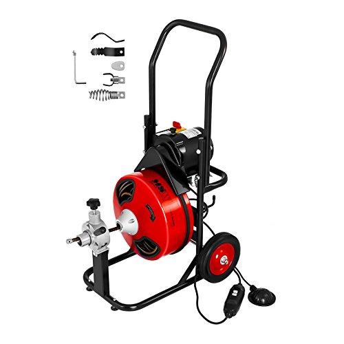 MSW-DRAIN CLEAN 23E Rohrreinigungsgerät Rohrreinigungsspirale 390 W für Ø 25 bis 125 mm Rohrreinigungsmaschine inkl. Spiralen und Bohrköpfe mit M6 Kupplung