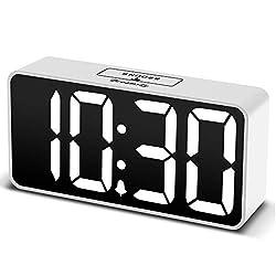 DreamSky Compact Digital Alarm Clock with USB Port for Charging, Adjustable Brightness Dimmer, Bold Digit Display, Adjustable Alarm Volume, Snooze,12/24Hr Display, Bedside Alarm Clock.