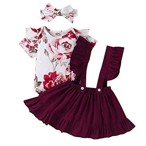 Toddler Baby Girls Outfits Set Pullover Print Tops+Solid Ruffle Suspender Skirt+Bowknot Headband Red