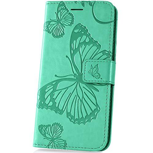 JAWSEU bloemen telefoonhoes voor Samsung Galaxy A50 Case portemonnee Vlinder groen
