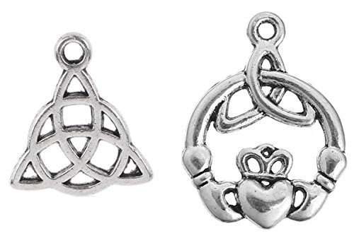 JGFinds Celtic Charms, 100 pc (50 of Each) Antiqued Silver Tone Pendants, Triquetra Knot and Claddagh