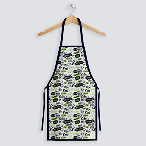 Aqkua Apron.Unisex 100% Soft Poly Fashion Design.Adjustable Neck Strap,Long Ties.High resolution Colors Excellent Quality.Cute Aprons for Christmas,Cooking & Life Style.Proud to be Made in USA
