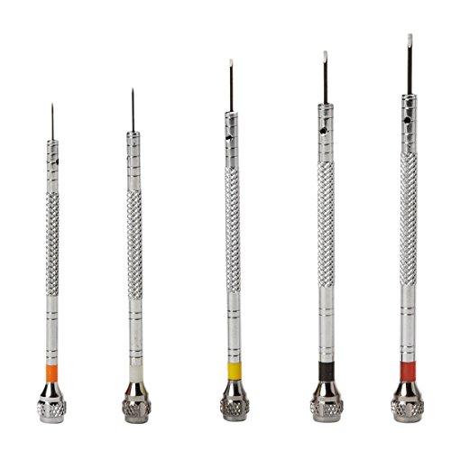 Bergeon 55-605 2868 Set of 5 Chrome Plated Brass Screwdrivers Watch Repair Kit