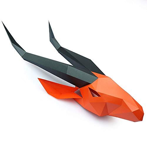 XDDXIAO Máscara de Halloween DIY Máscaras de Papel Antílope Head Party Masquerade Mascara Cosplay Animal Masque Carnaval Decoración Creative Prop,Rojo