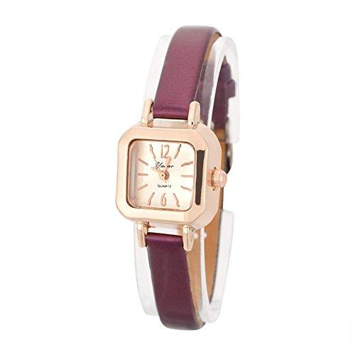 Quarzuhr, Armbanduhr Damen Modisch mit PU Armband und Gehäuse quadratisch aus Metall 7 Farben(violett)