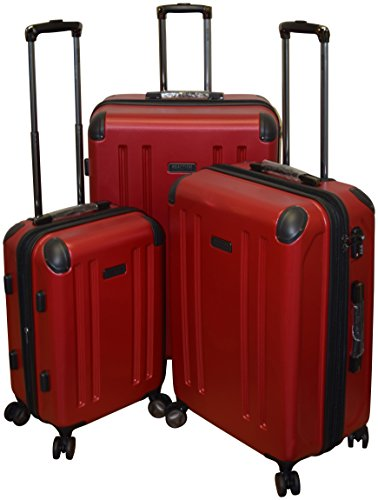 Kenneth Cole Reaction 8 Wheelin Collection Lightweight 3-PC Expandable Hardside Spinner Luggage Set (Red)