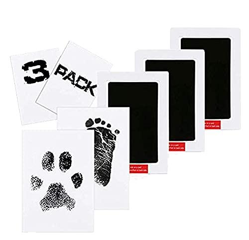 3pcs baby abdruck set,clean touch stempelkissen,Baby Handabdruck und Fußabdruck,Baby Fuß- oder Hand-Abdruck Set, Baby Handprint,Stempelkissen Babyhaut kommt nicht mit Farbe in Berührung (Schwarz)