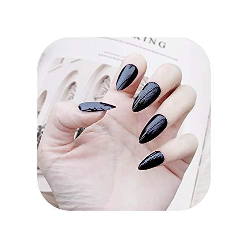 28 pcs Faux Ongles avec de la colle pour les femmes Longue Forme de goutte solide Couleur Art Nail Fini stiletto Faux Ongles couverture complète construire des ongles-black-