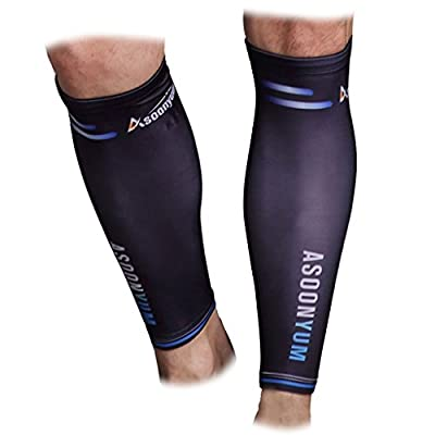 Calf Compression Sleeve Guards (1 Pair) - Leg Compression Socks for Shin Splint, Sports Footless Calve Sleeves - Men Women Runners for Running Cycling Maternity Travel Nurses by ASOONYUM