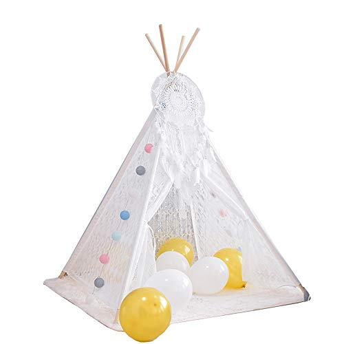 YIJIAHUI Kids Play Tent Children's Tent Play House Indian Children's Toy Tent for indoor and outdoor Kids Foldable Play Tent for Indoor Outdoor (Color : White, Size : 120x120x160cm)