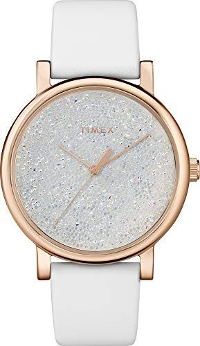 Timex TW2R95000 Reloj de pulsera de cuero blanco con esfera de cristal Swarovski para mujer