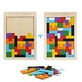 Vegena 2 Piezas Tetris del Juguete Madera, Tangram Rompecabezas Juego Juguetes Educativos Brain Teaser Toy, Rompecabezas Educativo Montessori de Madera para Niños Mejor Regalo Educativo Temprano