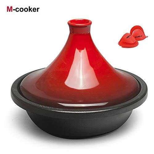 M-Cooker Pot de tajine marocain en Fonte émaillée avec Couvercle en céramique Pot de 10,6 po en tajine allant au Lave-Vaisselle (Rouge Cerise)