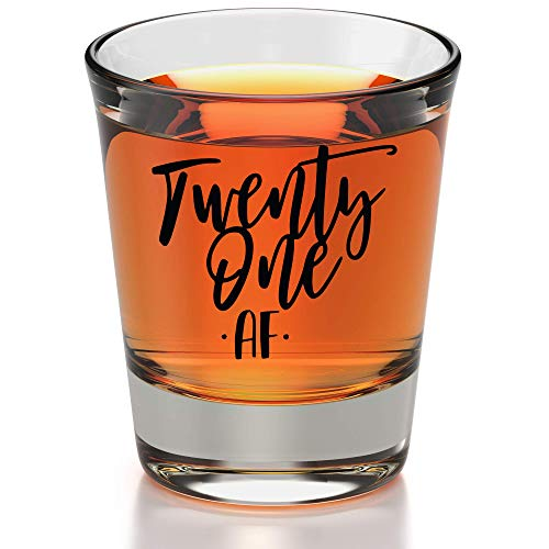21st Birthday Shot Glass - 21st Birthday Gifts For Him Or Her - Silly Bday Decorations For Men, Women, daughter, Sister, Best Friend, Co-Worker - Twenty One AF Birthday Shot Glass - 21 AF