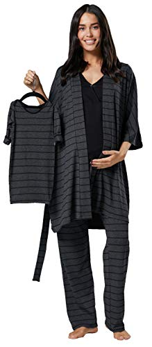 HAPPY MAMA Damen Mutterschaft Pyjama-Set Baby Mutter Passendes Set 181p (Graphit Melange Streifen & Schwarz, 36, S)