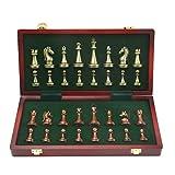 Xywh Tablero de ajedrez Profesional Ajedrez de Metal Piezas de Bronce y latón Brillante sólidos Plegables de Madera de ajedrez Profesional Conjunto de Juegos Juego de Damas (Size : 11.7inch)