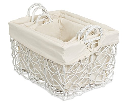 Rectangular White Wicker Storage Bin Set