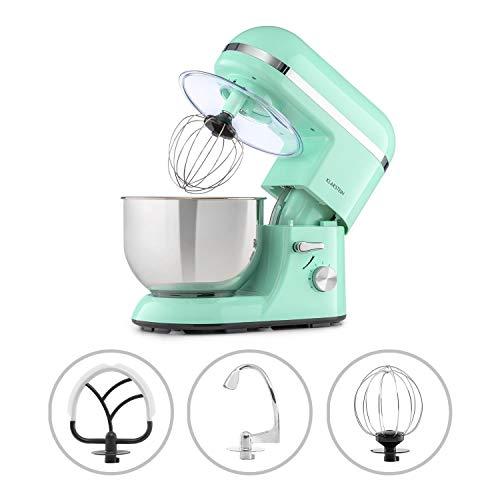 Klarstein Bella Elegance Küchenmaschine Rührmaschine, 1300W/1,7PS in 6 Leistungsstufen mit Pulsfunktion, Planetarisches Rührsystem, 5l Edelstahlschüssel, 3-tlg. Silberfarbene Applikationen, grün
