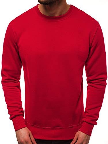 OZONEE Herren Sweatshirt Pullover Langarm Farbvarianten Langarmshirt Pulli ohne Kapuze Baumwolle Baumwollemischung Classic Basic Rundhals-Ausschnitt Sport J. Style 2001-10 L DUNKELROT