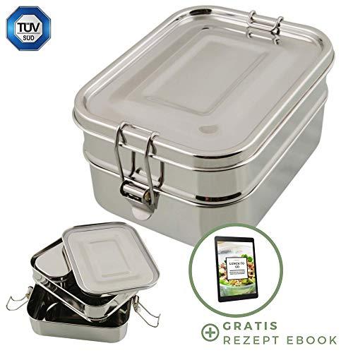 homeAct Edelstahl Eco Lunchbox & Brotdose inkl. Rezept Ebook | TÜV geprüft | 3 in 1 | auslaufsicher, umweltfreundlich & gesund | Essensbox für Schule, Uni, Arbeit und Camping