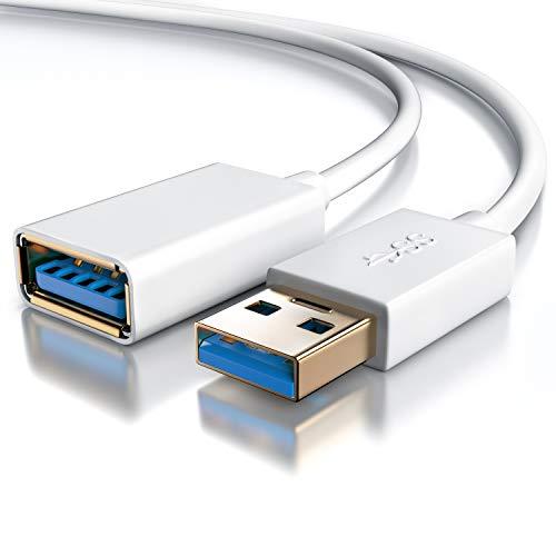 CSL - 1m USB 3.0 Verlängerungskabel - USB Erweiterungskabel USB Verlängerung - bis zu 5 Gbit s - doppelt geschirmt - Knickschutz - bidirektional - weiß
