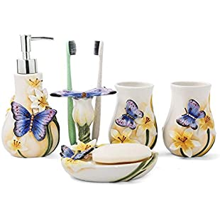 PEHOST Ceramic Bathroom Accessories Set 5 (Dancing Butterfly)2 Gargle Cups,1 Toothbrush Holders,1 Soap Dishes,1 Soap Dispenser
