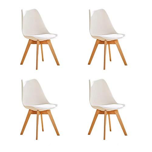 GroBKau Lot de 4 chaises de Salle à Manger rembourrées avec Pieds en Bois de hêtre et Coussin Doux en Forme de Tulipe pour Salle à Manger, Salon, Cuisine, Café, Restaurant, etc. (Blanc)