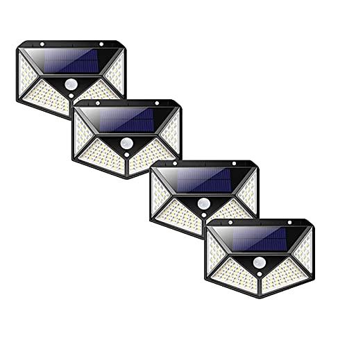 Solarlampen 4StückSolarlampen Für Außen Mit Bewegungsmelder 1500 Lumen,180LED Umweltschutz Solar Aussenleuchte Led Solarleuchten Für Außen Solar Wasserdichte Wandleuchte Solar Bewegungsm(Size:100 LED)