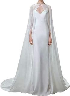 Damen Umhang Fuer Frauen Weiss Lange Bridal Wraps Hochzeit Cape Chiffon Party Schals