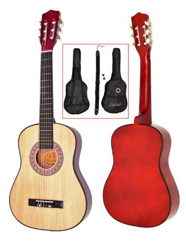 Ts-Ideen 5257 Kindergitarre Akustik Gitarre in der 1/2 Größe für ca. 6-9 Jahre mit Zubehörset (Gitarrentasche, Gurt und Ersatzsaiten) natur braun