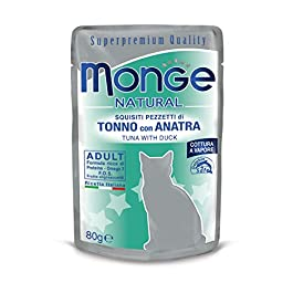 Monge, Natural – Food For Cats, Bits of Tuna with Duck, 80 Grams, 1 sachet