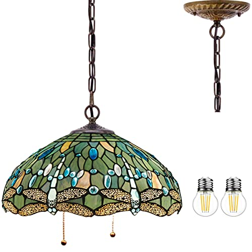 Tiffany Pendant Lighting for Kitchen Island Large Fixture Industrial Rustic Chandelier Swag Farmhouse 16' Sea Blue Stained Glass Dragonfly Shade Boho Hanging Lamp Bedroom Living Dining Room WERFACTORY